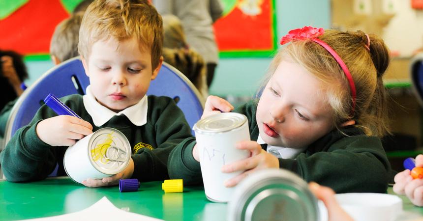 image children writing on tins
